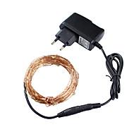julelys 3 farver 10m 100 ledet kobbertråd førte string lys stjerneklar lightspower adapter (ukuseuau plug) ferie lys