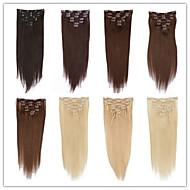 패션 여성 헤어 확장되지 않은 최고 품질의 브라질 처녀 머리 헤어 확장 클립 100 % 인간의 머리 부드럽고 매끄러운 부드러운 직선