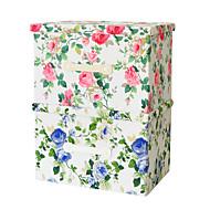 raylinedo® 2 db régi divat klasszikus virágmintás (1 kék virág 1 piros virág) 26L szimulált bélés szövet összecsukható tároló dobozok