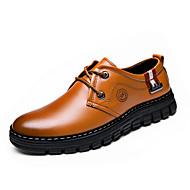 Masculino sapatos Couro Primavera Verão Outono Inverno Botas da Moda Conforto Oxfords Cadarço Para Casual Festas & Noite Amarelo Marron
