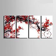 Moderni/nykyaikainen Muuta Seinäkello,Suorakulma Kanvas 30 x 60cm(12inchx24inch)x4pcs/ 40 x 80cm(16inchx32inch)x4pcs Sisällä Kello