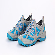 Feminino-Tênis-Conforto-Salto Baixo-Cinzento Claro Azul Claro-Couro Tule Microfibra-Ar-Livre Para Esporte