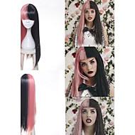 Γυναικείο Συνθετικές Περούκες Χωρίς κάλυμμα Μακρύ Ίσια Ροζ Περούκα κοτσιδάκια Αφρικανικά κοτσιδάκια Με αφέλειες Φυσική περούκα Απόκριες