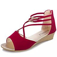 Femme Chaussures Polyuréthane Eté Confort Sandales Talon Bas Bout ouvert Lacet Pour Décontracté Noir Rose Pailleté Bleu