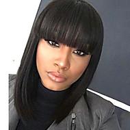 Mulher Perucas de cabelo capless do cabelo humano Preto Médio Liso Corte Bob Com Franjas