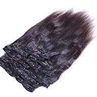 인간의 머리에 머리 확장 구이 직선 브라질 머리 natrual 검은 구이 직선 클립의 클립 8PCS를 엮어 / 10-26 인치를 설정