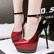 Women's Shoes Patent Leather Spring Club Shoes Heels Stiletto Heel Pointed Toe Buckle For Dress Gray Red Green Blue