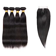 Tissages de cheveux humains Cheveux Brésiliens Droit 6 Mois 5 Pièces tissages de cheveux