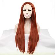 Žene Sintetičke perike Lace Front Ravna Kestenjast Prirodna linija za kosu Halloween paru Karnevalska perika Prirodna perika Kostim perika