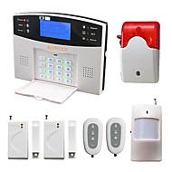 Stemme lcd trådløs innbruddsgsm alarm system med pir dør detektor strobe siren sms ring alarme alarma sikkerhet hjem