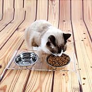 ネコ 犬 餌入れ/水入れ フィーダ ペット用 ボウル&摂食 防水 携帯用 クリア