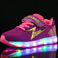 Para Meninas Tênis Tênis com LED Shoe luminous Primavera Verão Outono Inverno Tule Tecido Corrida Atlético Casual Velcro LED Salto Baixo