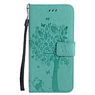 Para iPhone X iPhone 8 Case Tampa Carteira Porta-Cartão Com Suporte Flip Com Relevo Estampada Corpo Inteiro Capinha Gato Árvore Rígida