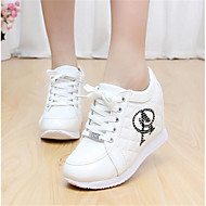 Feminino Sapatos Couro Ecológico Primavera Chanel Rasos Salto Grosso Para Casual Branco