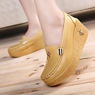Feminino Sapatos Pele Primavera Outono Creepers Mocassins e Slip-Ons Creepers Para Casual Branco Amarelo Azul