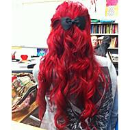 Žene Sintetičke perike Lace Front Medium Dug Valovita Crvena Prirodna linija za kosu Prirodna perika Kostim perika