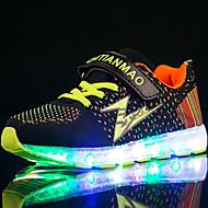 Para Meninos Tênis Tênis com LED Tule Tecido Primavera Verão Outono Inverno Atlético Casual Corrida Tênis com LED Velcro LED Salto Baixo