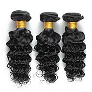 Menneskehår Vevet Brasiliansk hår Krøllet 18 måneder 3 deler hår vever