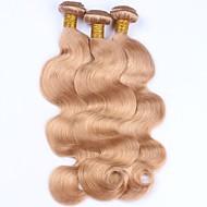 Ljudska kosa Peruanska kosa Precolored kose plete Tijelo Wave Ekstenzije za kosu 3 komada Jagoda blond