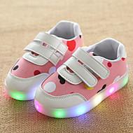 Mädchen Sneaker Leuchtende LED-Schuhe Leder Tüll Frühling Sommer Herbst Normal Walking Leuchtende LED-Schuhe Klettverschluss LEDNiedriger