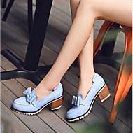 여성 구두 PU 여름 컴포트 힐 와 제품 캐쥬얼 화이트 블루 핑크