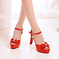 Women's Shoes PU Spring Comfort Heels Stiletto Heel Round Toe With For Casual White Black Red