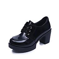 Ženske Oksfordice Udobne cipele Jesen PU Formalne prilike Štras Vezanje Kockasta potpetica Crn Sive boje 7 cm - 9.5 cm