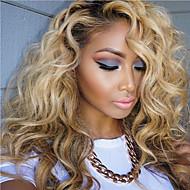 Naisten Aitohiusperuukit verkolla Aidot hiukset Full Lace Liimaton kokoverkko 130% Tiheys Laineikas Runsaat laineet Peruukki Black /