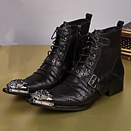 メンズ 靴 ナパ革 秋 冬 コンフォートシューズ アイデア ファッションブーツ ブーツ ブーティー/アンクルブーツ リベット 編み上げ 用途 パーティー ブラック