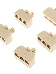 1 זכר לנקבת 3 טלפון ברשת מחבר ספליטר Extender מתאם תקע (צהוב, 5 PCS)