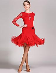 Latin tánc Felszerelések Női Teljesítmény Csipke Viszkóz Fodor 2 darab Hosszú ujj Természetes Akrobatatrikó Szoknya