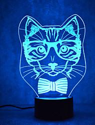 Natal gato tartarugas toque escurecendo 3d levou luz da noite 7colorful decoração atmosfera lâmpada novidade iluminação luz de Natal