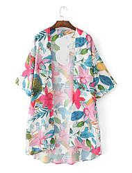Damen Blumen Street Schick Lässig/Alltäglich Trench Coat,Hemdkragen Frühling Herbst Lange Ärmel Standard Nylon Others Niete