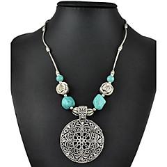 mote vintage sølvforgylt hul ut carving blomst turkis halssmykke