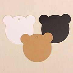 50pcs urso de papel kraft Tag do cair lables para padaria presente do marcador casamento embalagem cartões de preços partido (mais cores)