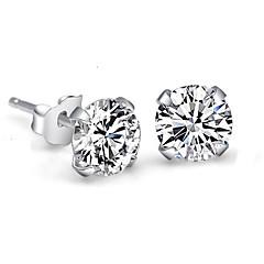 Femme Boucles d'oreille goujon Cristal Imitation de diamant Simple Style Mariée bijoux de fantaisie Argent sterling Cristal Strass Quatre