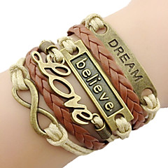 Men's Women's Charm Bracelet Leather Bracelet Basic Love European Fashion Vintage Plaited Initial Jewelry Personalized Multi Layer