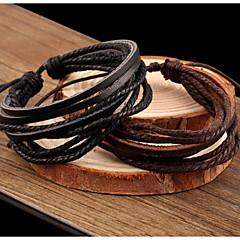 Mulheres Pulseiras de couro Enrole Pulseiras Básico Confeccionada à Mão Multi Camadas Trançado Vintage bijuterias Pele Jóias Jóias Para