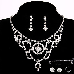 Wedding Necklace Jewelry Sets Party Rhinestone Ring Bracelet Gift with 2 Pairs Earrings for Wedding Dress