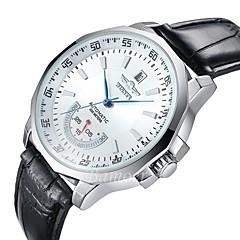 WINNER גברים שעוני שמלה שעון יד שעון מכני אוטומטי נמתח לבד לוח שנה עמיד במים שעונים יום יומיים צג גדול עור להקה יוקרתי שחורלבן שחור אדום