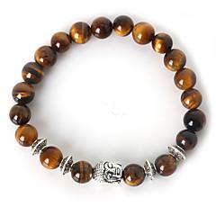 Beadia 1Pc Fashion 8mm Round Stone Elastic Strand Bracelet Silver Buddha Bracelet 9 Colors U-Pick Jewelry