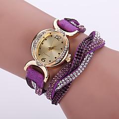 Mulheres Relógio de Moda Relógio de Pulso Bracele Relógio Simulado Diamante Relógio Quartzo / imitação de diamante Couro Banda Flor Boêmio