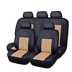11pçs pu couro preto com auto bege carro cobre um conjunto sintético tampas de assento completos