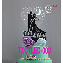 Kakepynt Ikke-personalisert Klassisk Par Akryl Bryllup Blomster Svart Klassisk Tema 1 Gaveeske