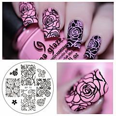 ruža cvijet na noktima žigosanje predložak slike Ploča rođen lijepu bp-73 čavao žigosanje pločica manikura matrica set