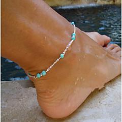 נשים תכשיט לקרסול/צמידים טורקיז סגסוגת סגנון מינימליסטי אופנתי חרוזים ארופאי עבודת יד תכשיטים Cross Shape תכשיטים עבור Party יומי