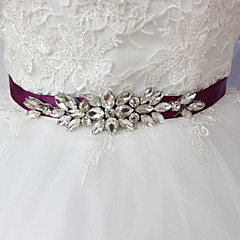Satin Wedding Party/ Evening Dailywear Sash-Beading Rhinestone Women's 98 ½in(250cm) Beading Rhinestone