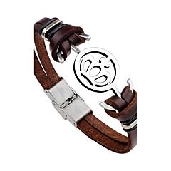 Муж. Кожаные браслеты Rock Мода По заказу покупателя Нержавеющая сталь Кожа В форме короны анкер Бижутерия Назначение Повседневные Для