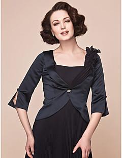 여성 숄 코트 / 재킷 3/4 길이 소매 쉬폰 사틴 블랙 웨딩 파티/이브닝 V넥 39cm 버튼 드레이프 버클