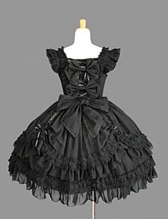 Yksiosainen/Mekot Lolita Cosplay Lolita-mekot Musta Yhtenäinen Perhonen Hihaton Leninki varten Puuvilla